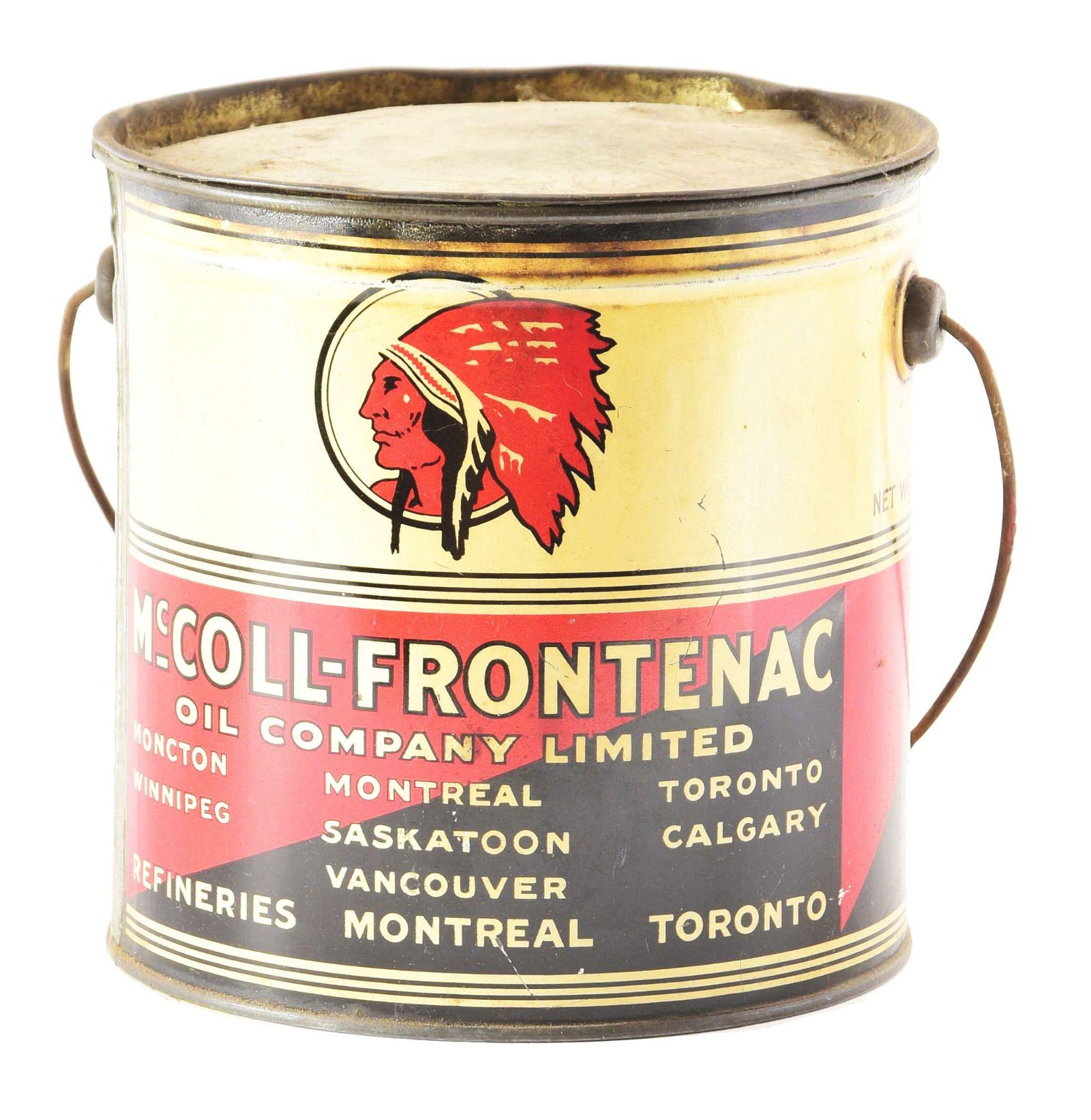 Red Indian Five Pound Grease Can W/ Indian Graphic.