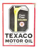 Texaco Motor Oil Porcelain Flange Sign W Pouring Oil