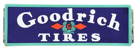 Goodrich Tires Porcelain Service Station Sign W/ Self