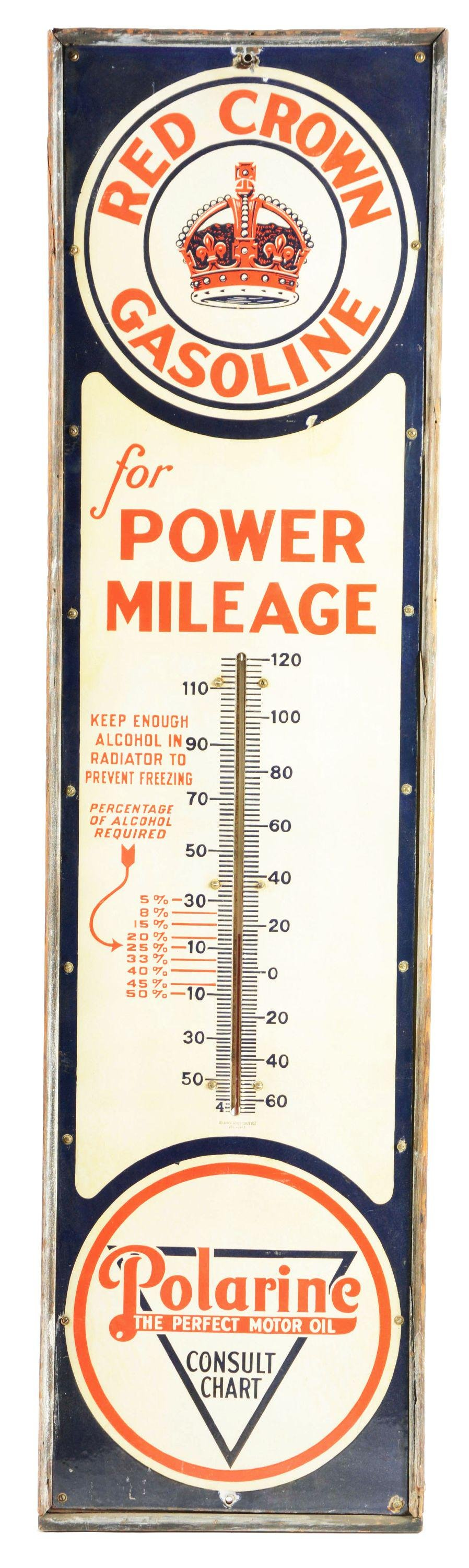 Red Crown Gasoline Porcelain Thermometer W/ Original
