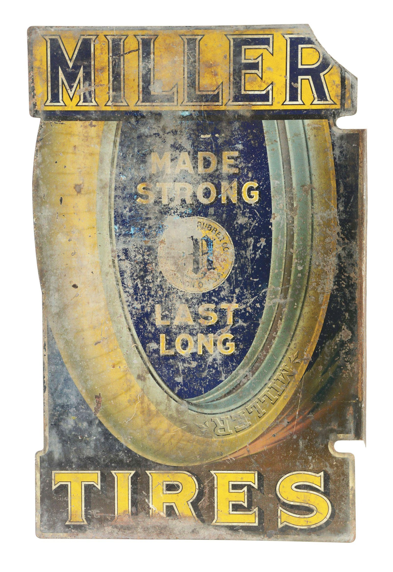 Rare Miller Tires Tin Flange Sign.