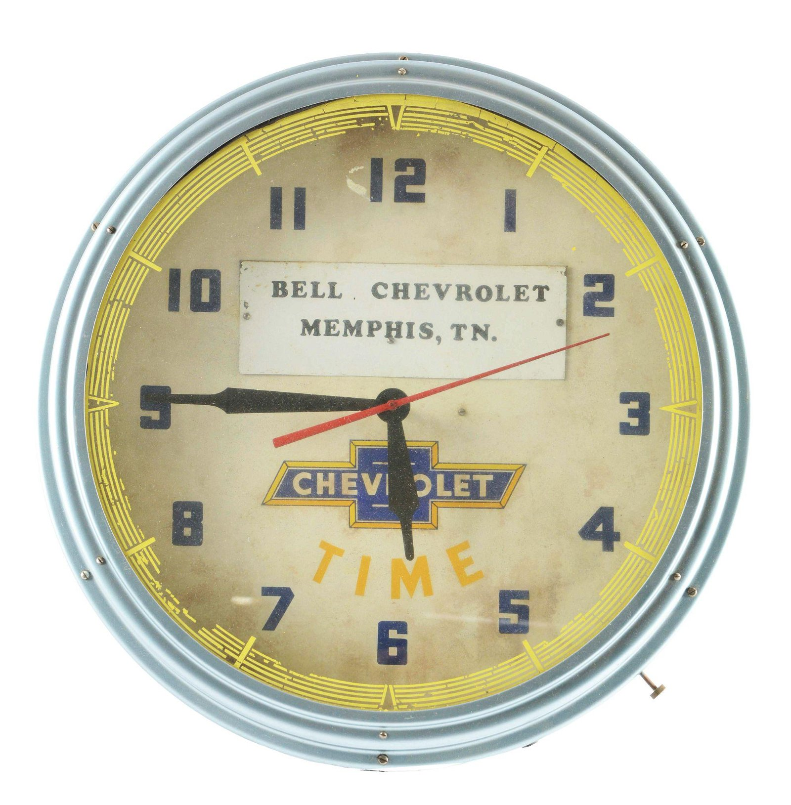 Lackner Neon Clock For Bell Chevrolet.