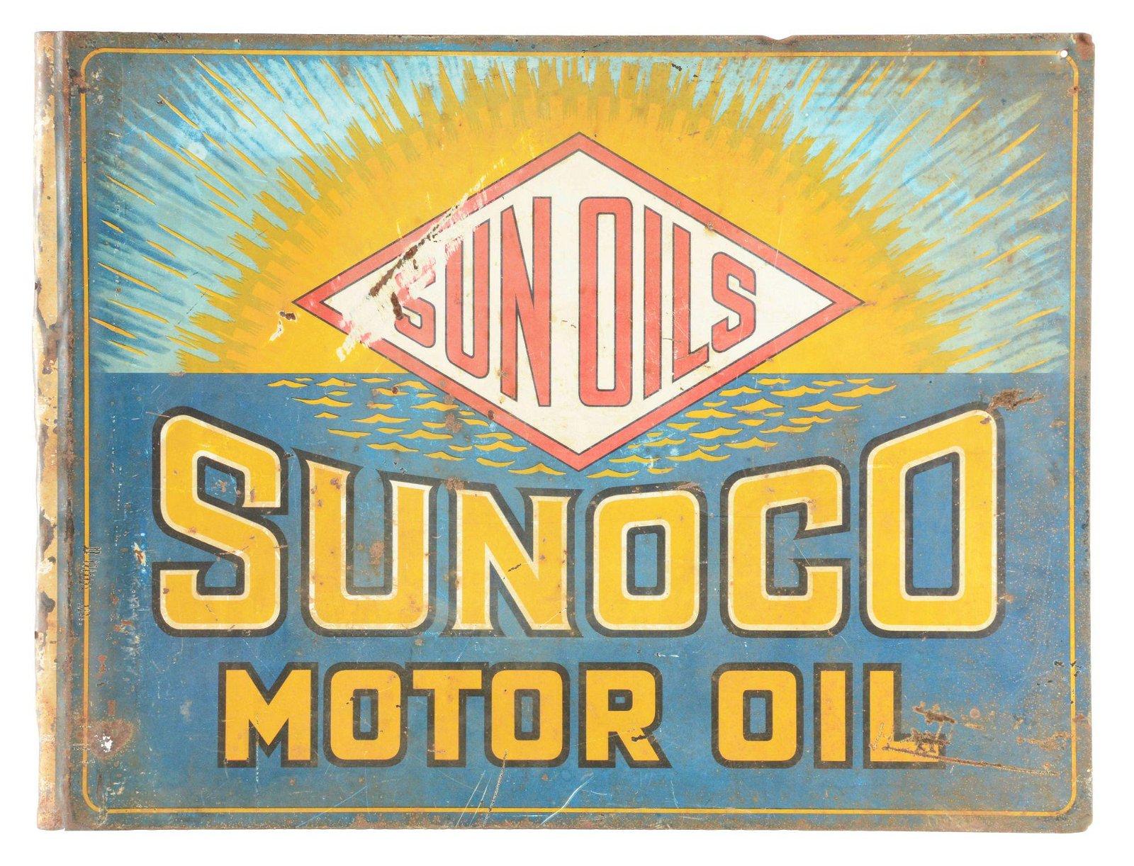 Sunoco Sun Oils Motor Oil Tin Flange Sign.