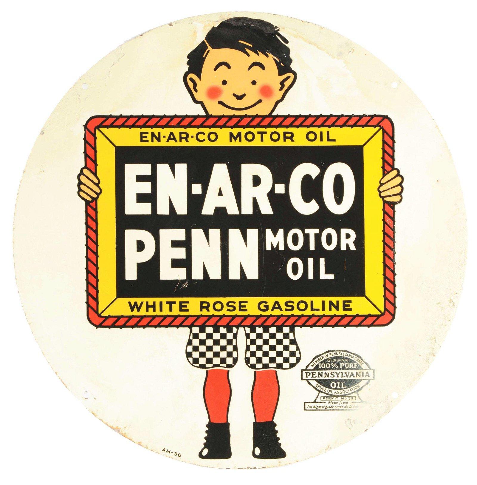 White Rose Gasoline & Enarco Penn Motor Oil Tin Sign.