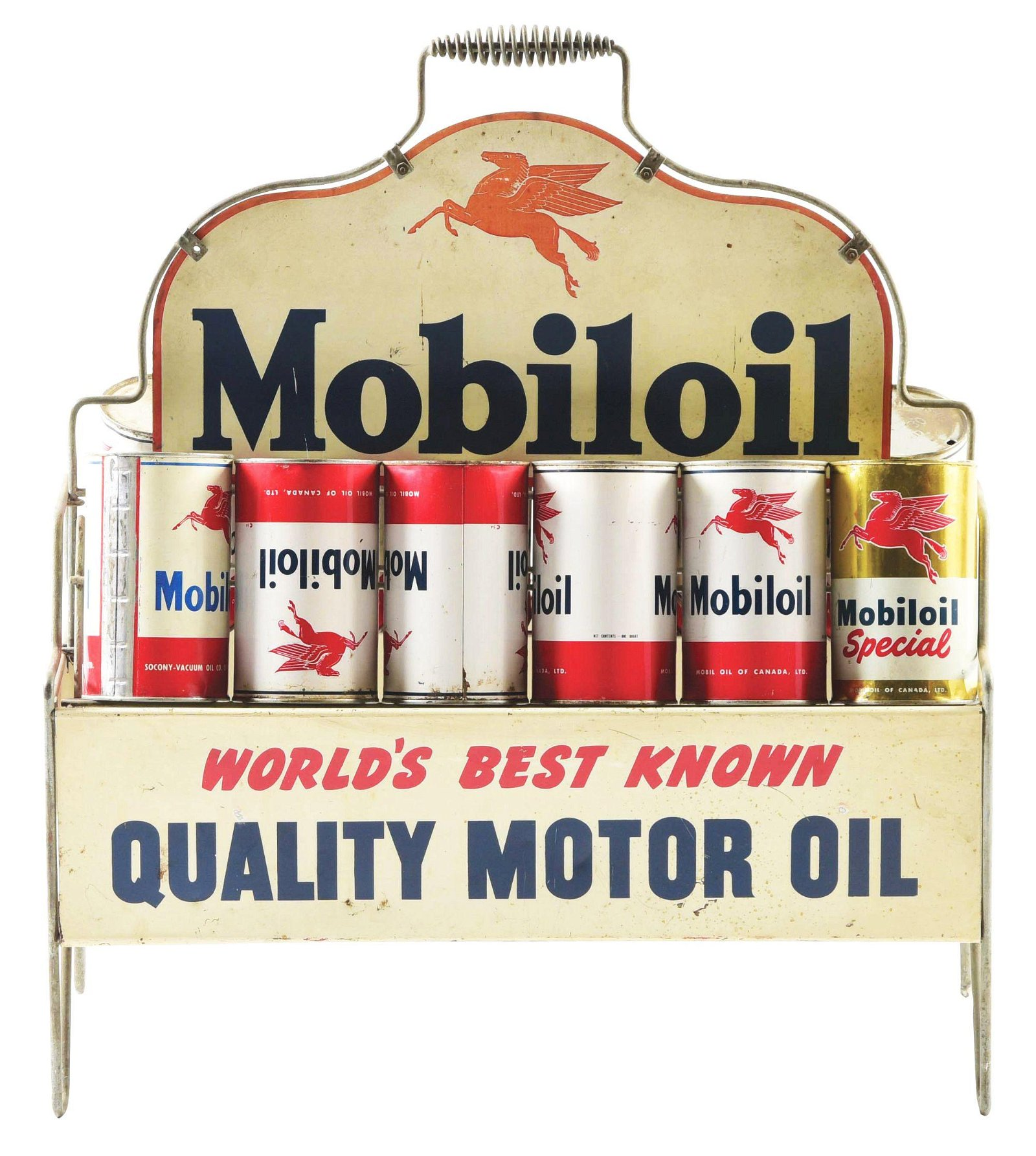 Mobiloil World's Best Known Quality Motor Oil Tin Quart