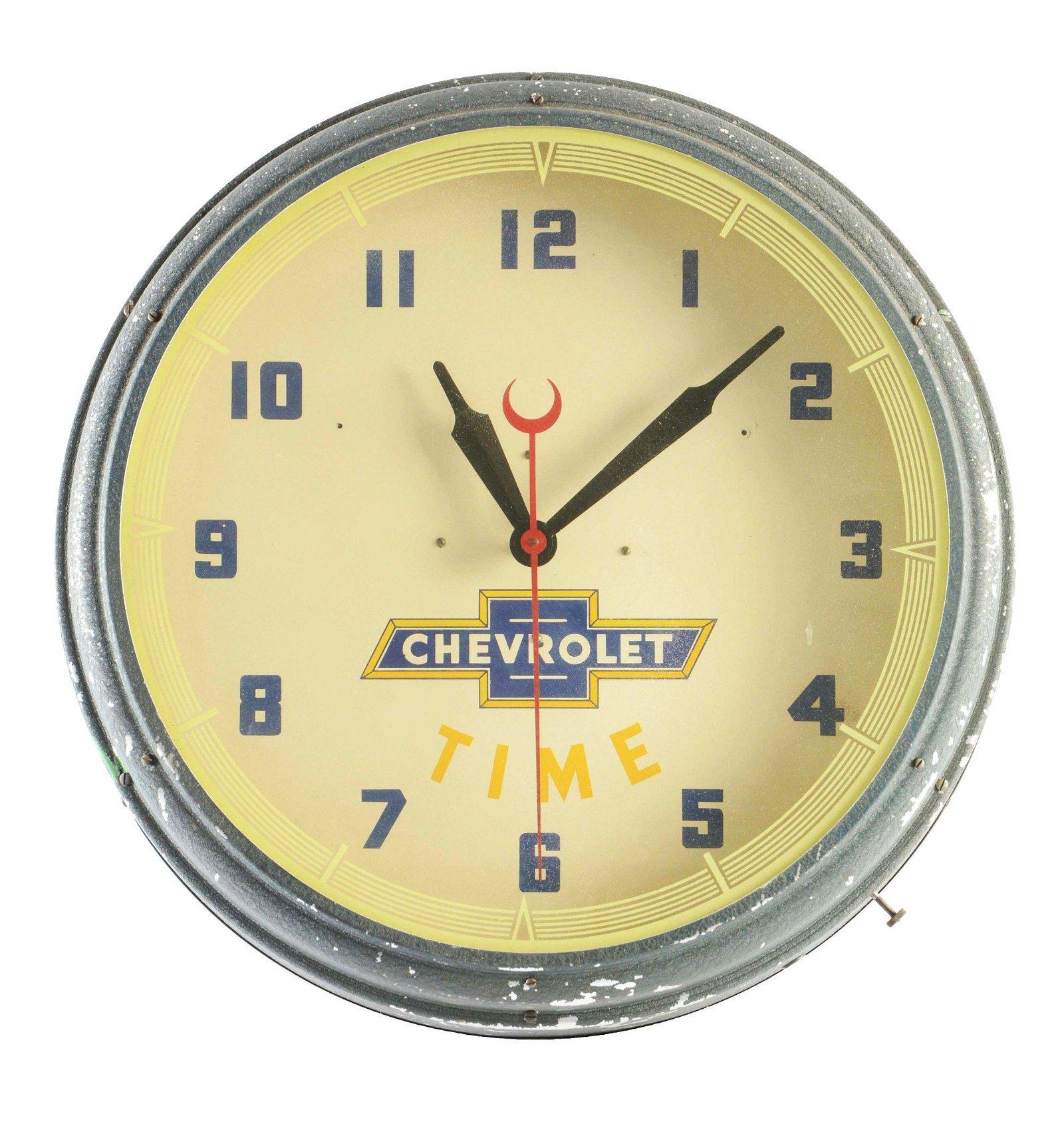 Chevrolet Time Neon Dealership Clock.