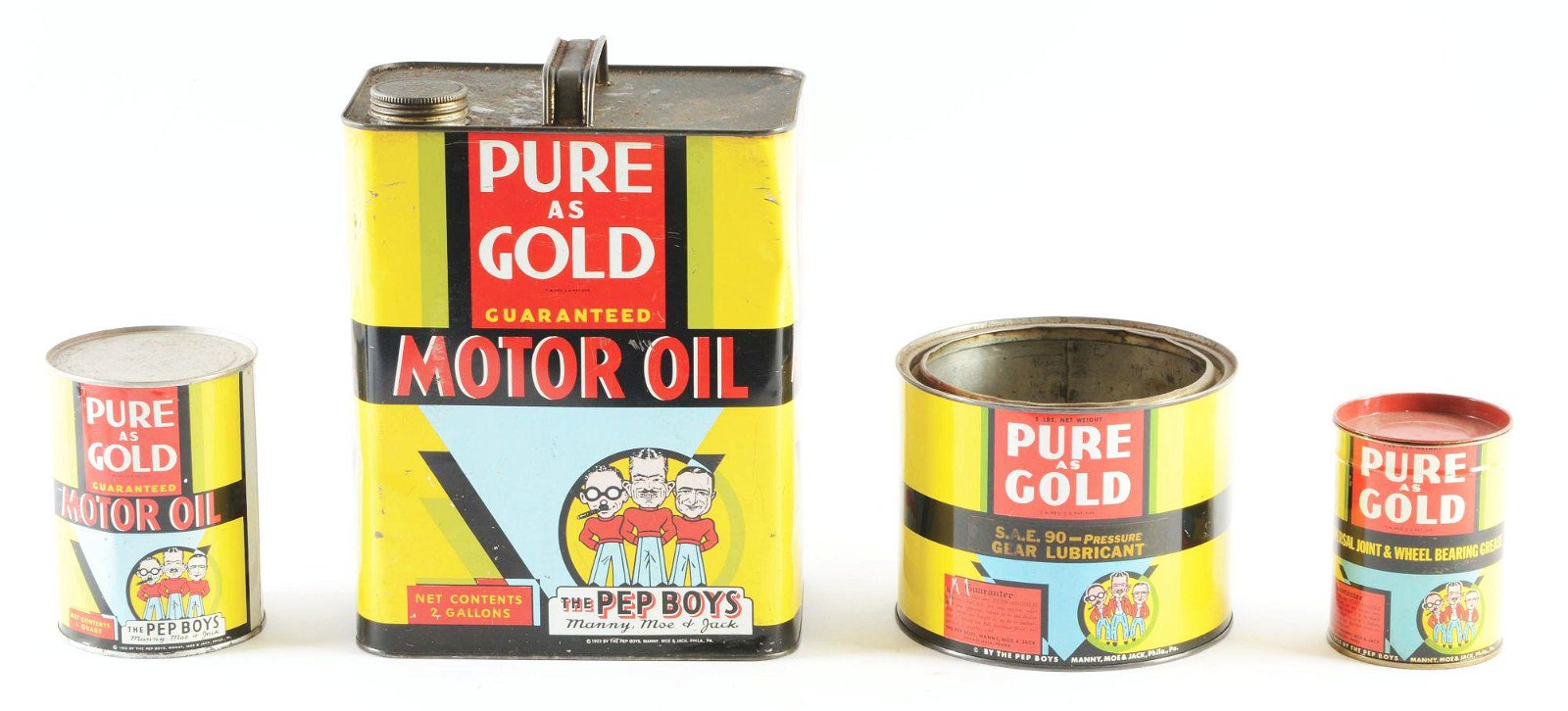 Lot of 4: Pep Boys Pure As Gold Oil & Grease Cans.