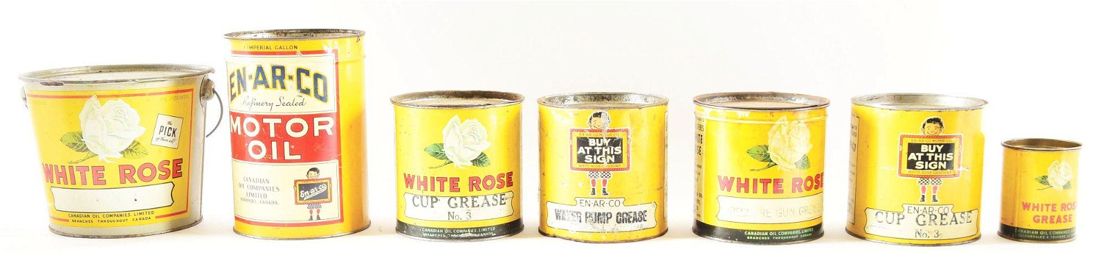 Lot Of 7: Enarco & White Rose Motor Oil & Grease Cans.