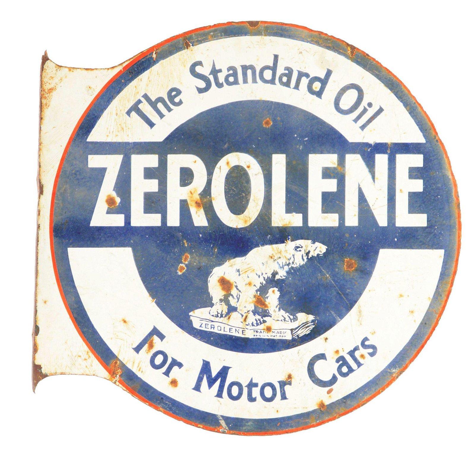 Zeroline Motor Oil Porcelain Flange Sign W/ Polar Bear