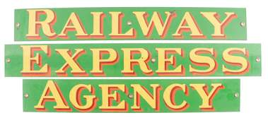 Railway Express Agency Three Piece Porcelain Strip