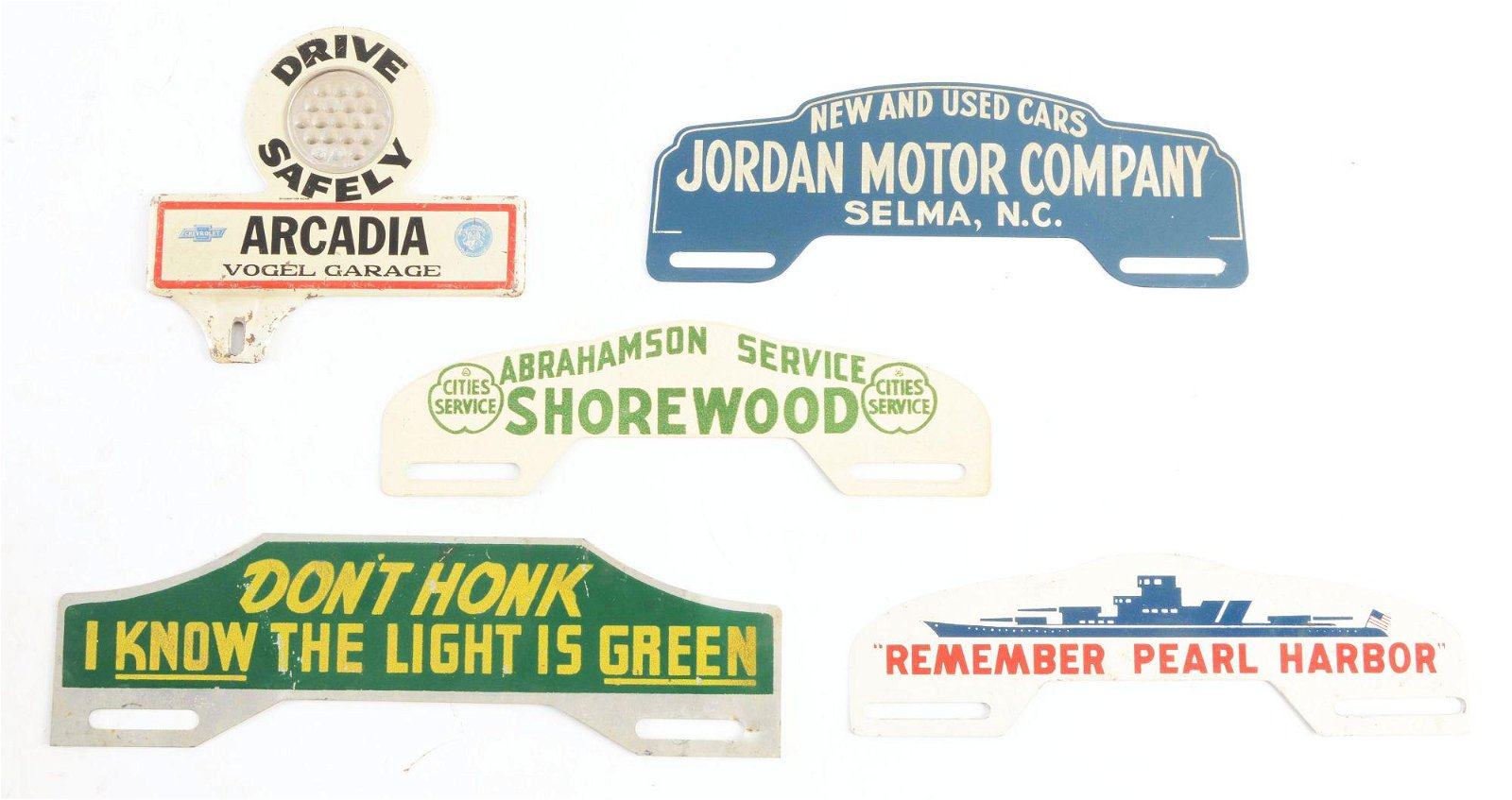 Lot Of 5: Tin License Plate Toppers.