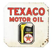 Texaco Motor Oil Porcelain Sign W/ Pouring Can Graphic.
