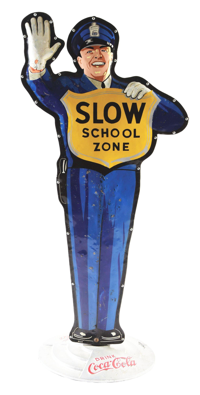 Coca Cola Slow School Zone Die Cut Tin Police Officer