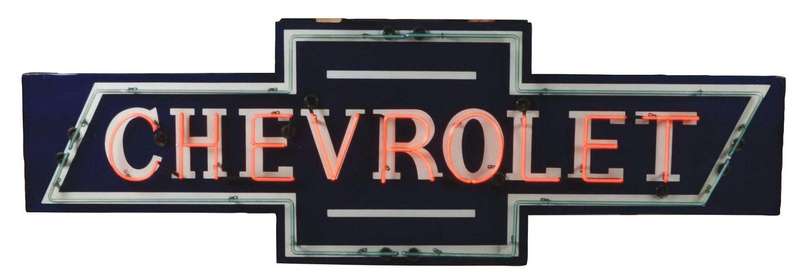 Large Chevrolet Die Cut Bow Tie Tin Neon Sign On Metal
