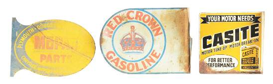 Lot Of 3: Tin Flange Signs From Red Crown, Mopar &