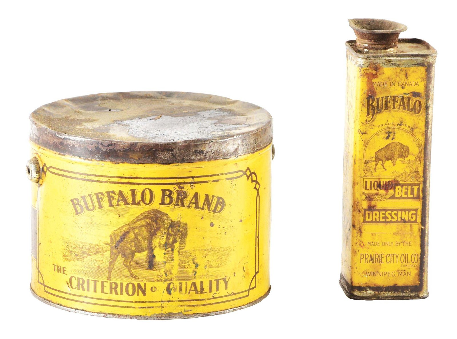 Lot of Two: Buffalo Liquid Belt Dressing & Grease Can.