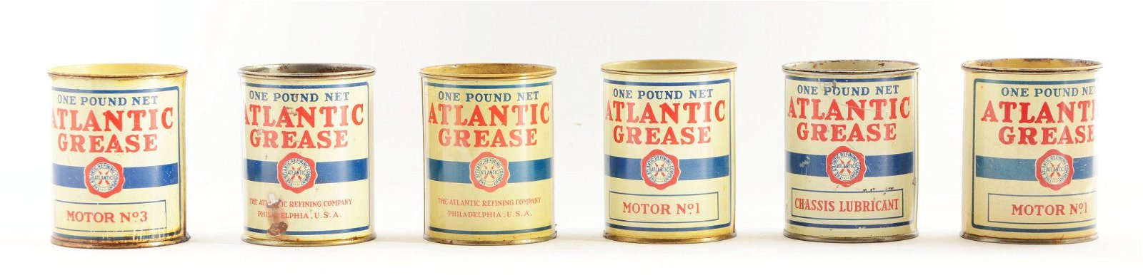 Lot Of 6: Atlantic Motor Oil One Pound Grease Cans.