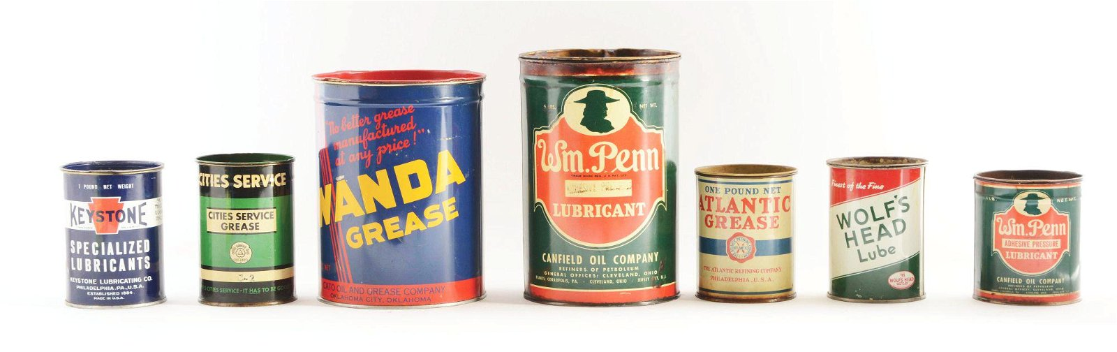 Lot Of 7: One & Five Pound Grease Cans.