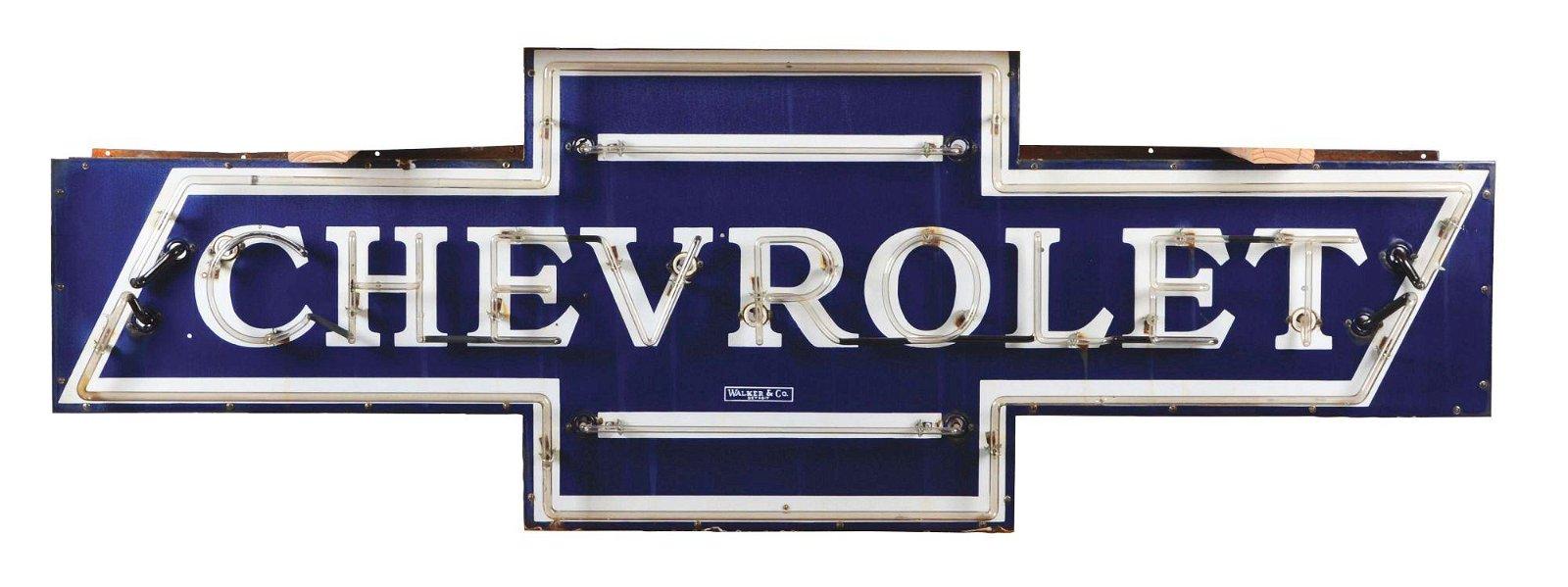 Chevrolet Motor Cars Porcelain Bow Tie Neon Dealership