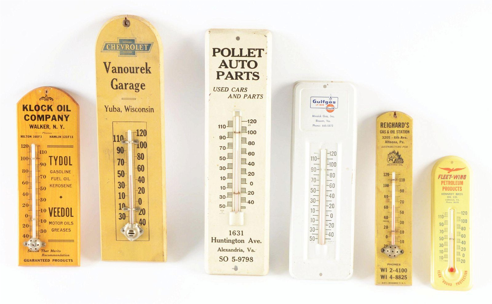 Lot Of 6: Wooden & Tin Service Station Thermometers.