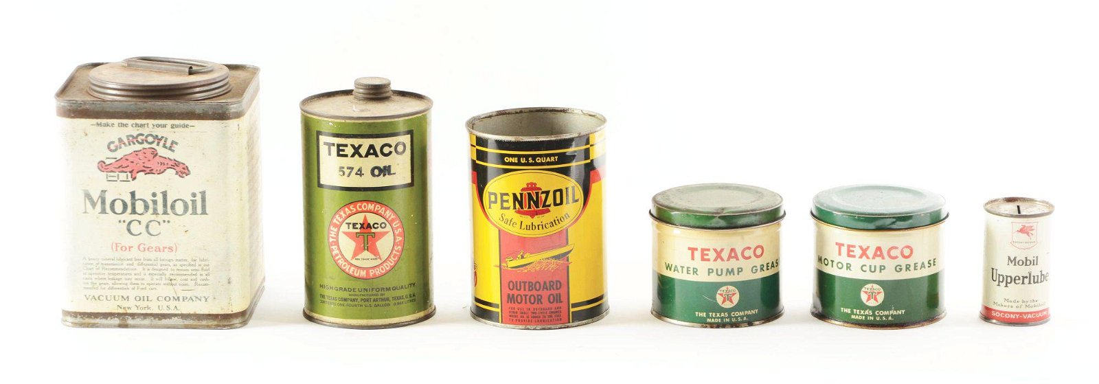 Lot Of Six: Motor Oil & Grease Cans From Texaco,