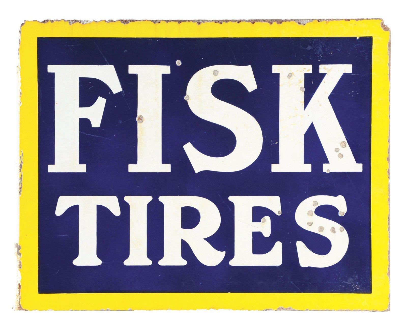 Fisk Tires Porcelain Service Station Flange Sign.
