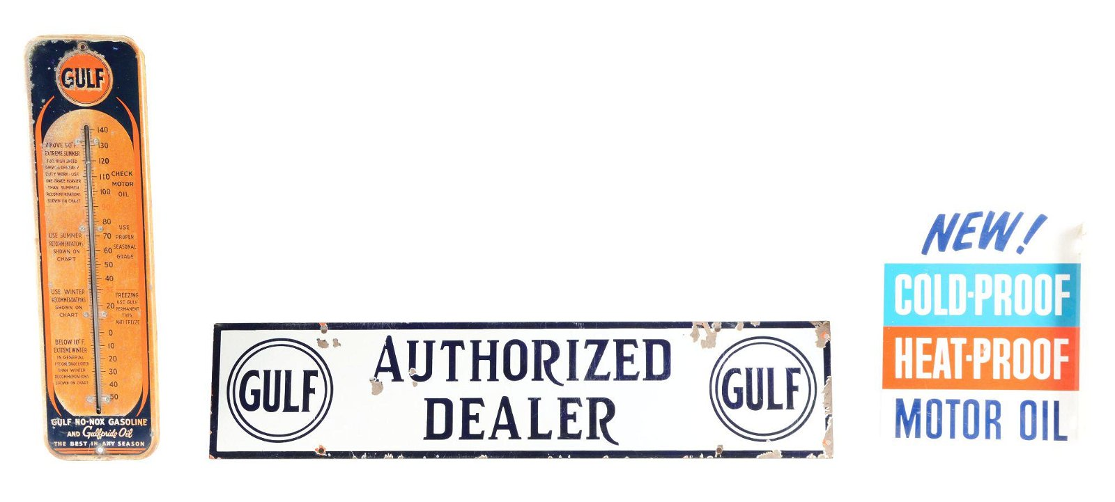 Lot Of 3: Gulf Gasoline & Motor Oil Advertising Signs.