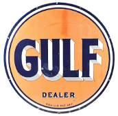 Gulf Gasoline Dealer Porcelain Service Station Sign