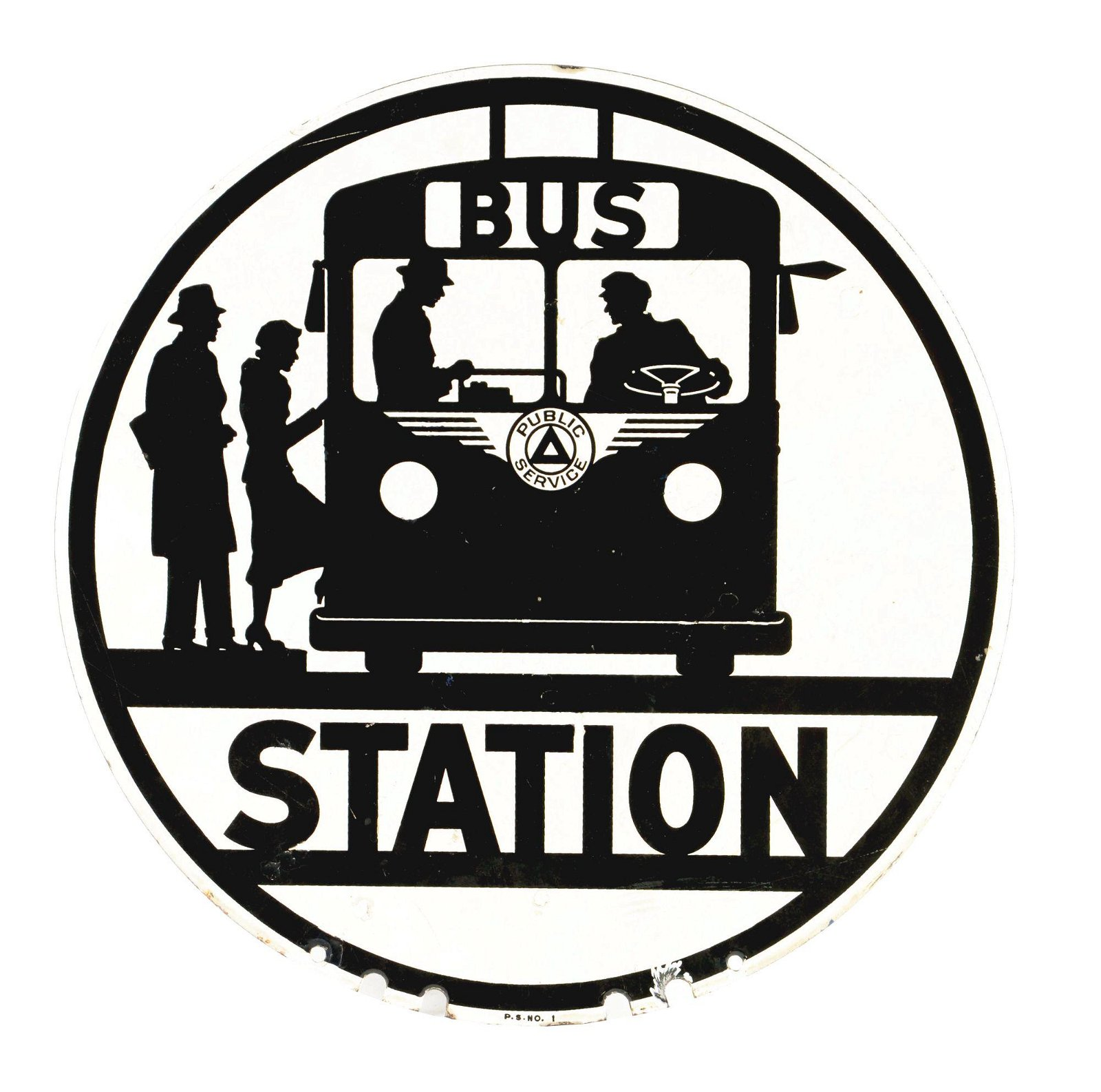 Bus Station Porcelain Sign W/ Bus Graphic.