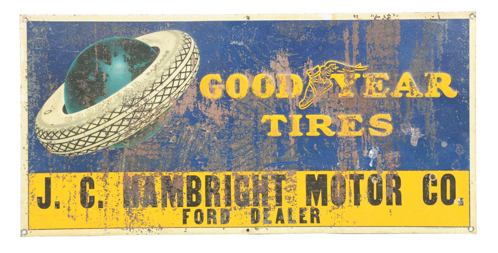 Goodyear Tires Embossed Tin Tacker Sign.
