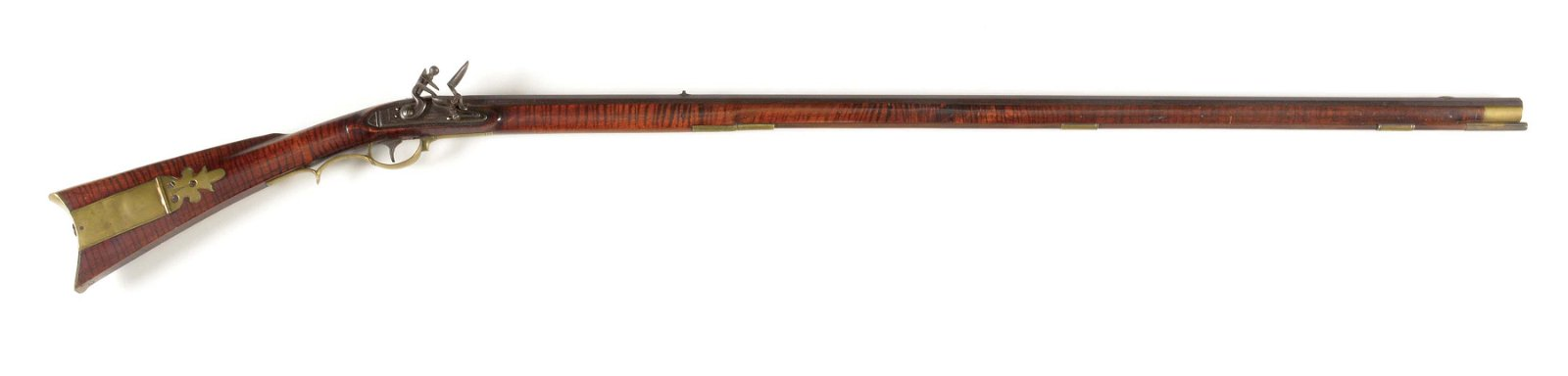 (A) FULLSTOCK FLINTLOCK KENTUCKY RIFLE SIGNED JOHN