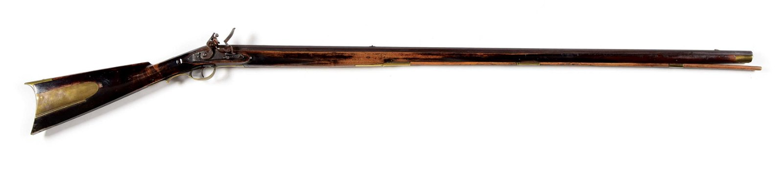 (A) FLINTLOCK KENTUCKY RIFLE SIGNED HENRY YOUNG ON