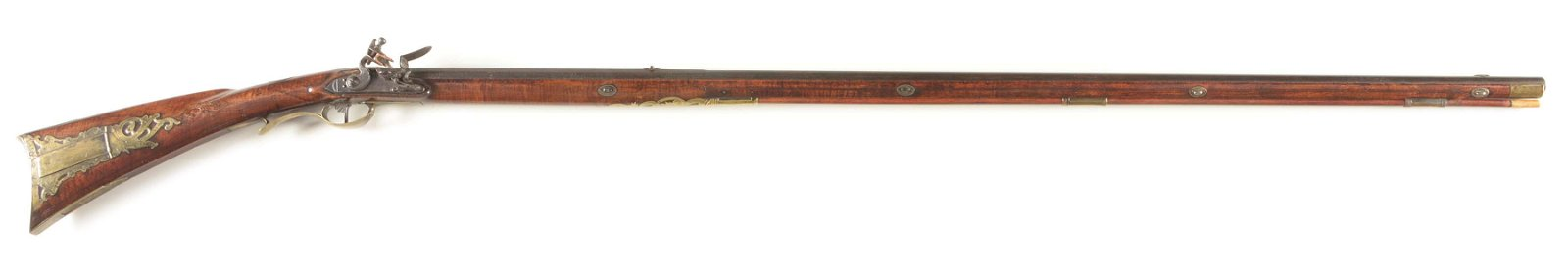 (A) RELIEF CARVED AND ORNATE FLINTLOCK KENTUCKY RIFLE