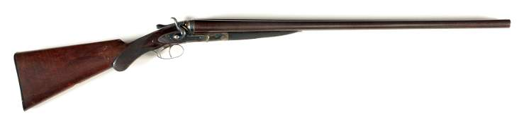 A WC SCOTT  SON SIDE BY SIDE SHOTGUN WITH EXPOSED
