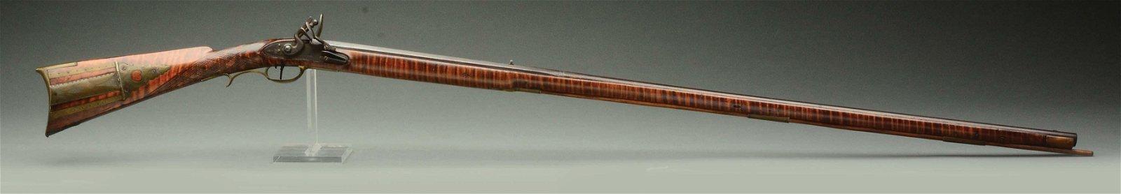 (A) Signed Henry Gibbs Flintlock Kentucky Rifle.