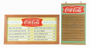LOT OF 2 COCACOLA ADVERTISING MENU BOARDS