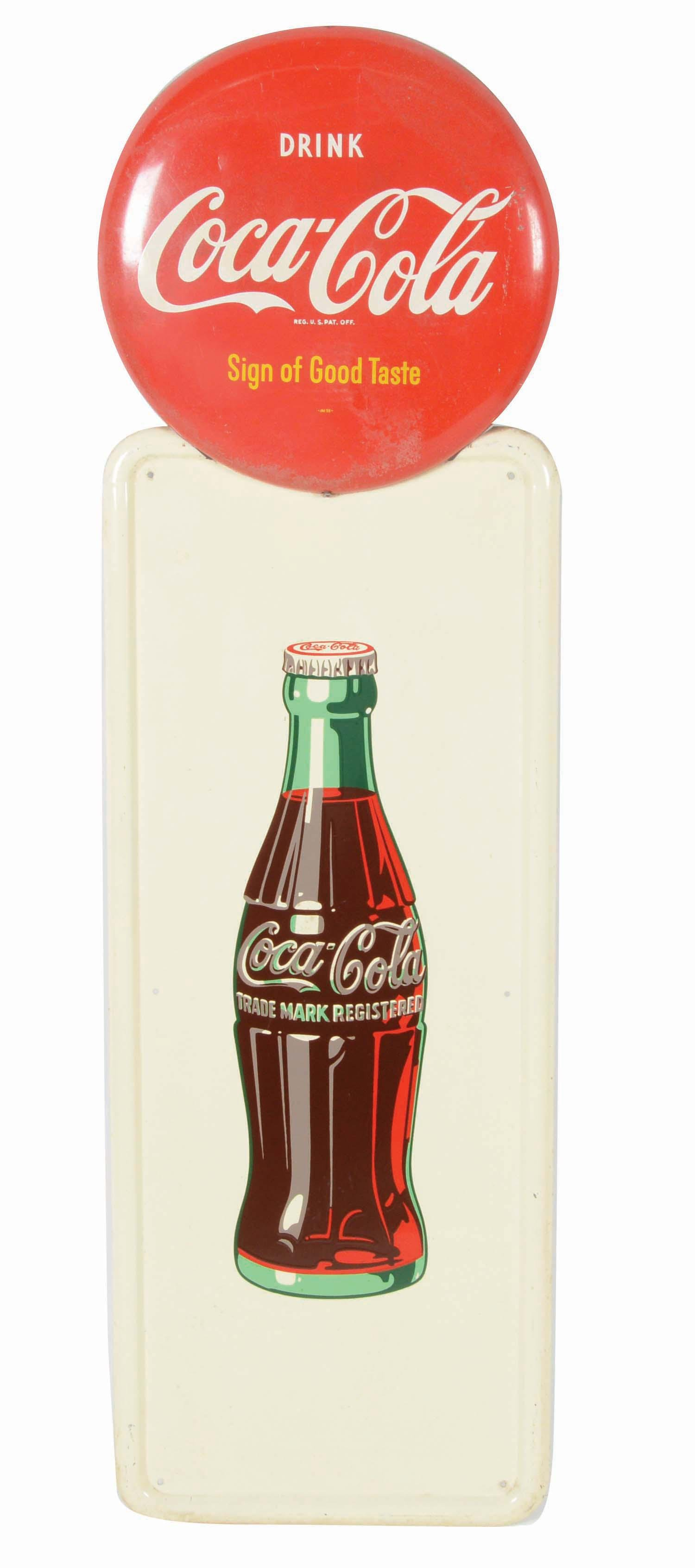 COCA-COLA PILASTER SIGN WITH BUTTON.