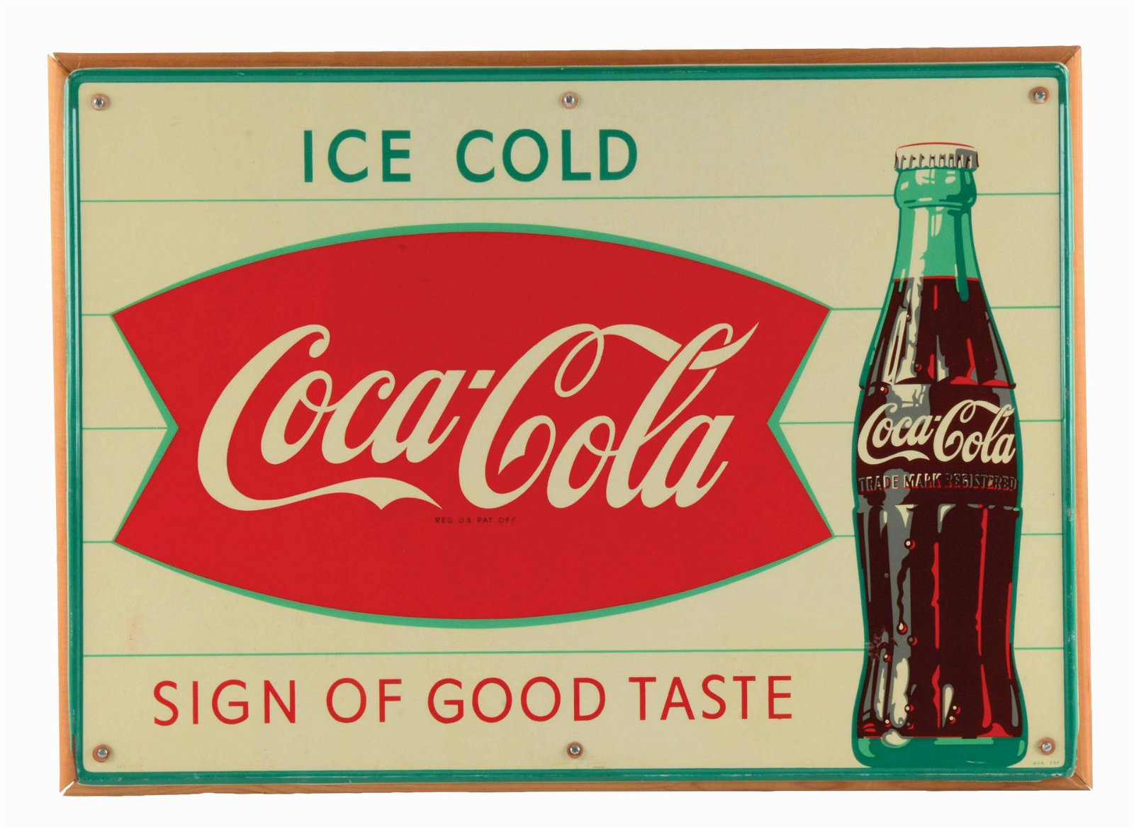 SELF-FRAMED COCA-COLA TIN ADVERTISING SIGN.
