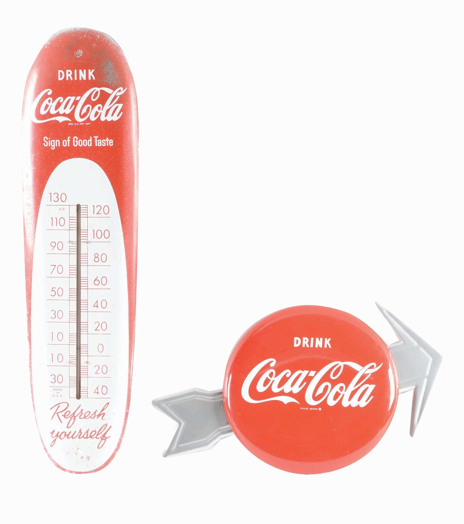 LOT OF 2: COCA-COLA SIGN AND ADVERTISING THERMOMETER.