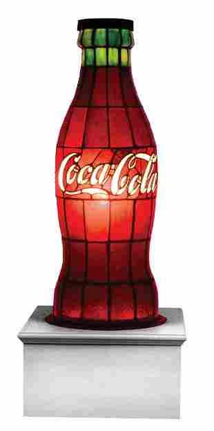 1920'S COCA-COLA OVERSIZED LEADED GLASS DISPLAY BOTTLE.