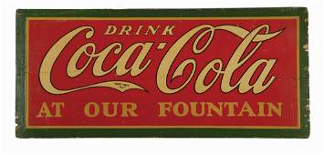 LARGE WOODEN COCA-COLA ADVERTISING SIGN CIRCA 1920.