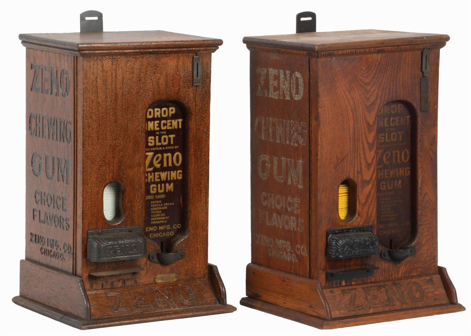 LOT OF 2: WOOD ZENO CLOCK WORK CHEWING GUM VENDORS.