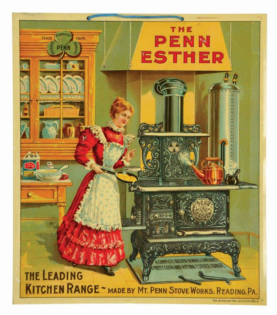 PENN ESTHER STOVE TIN LITHOGRAPH ADVERTISING SIGN.