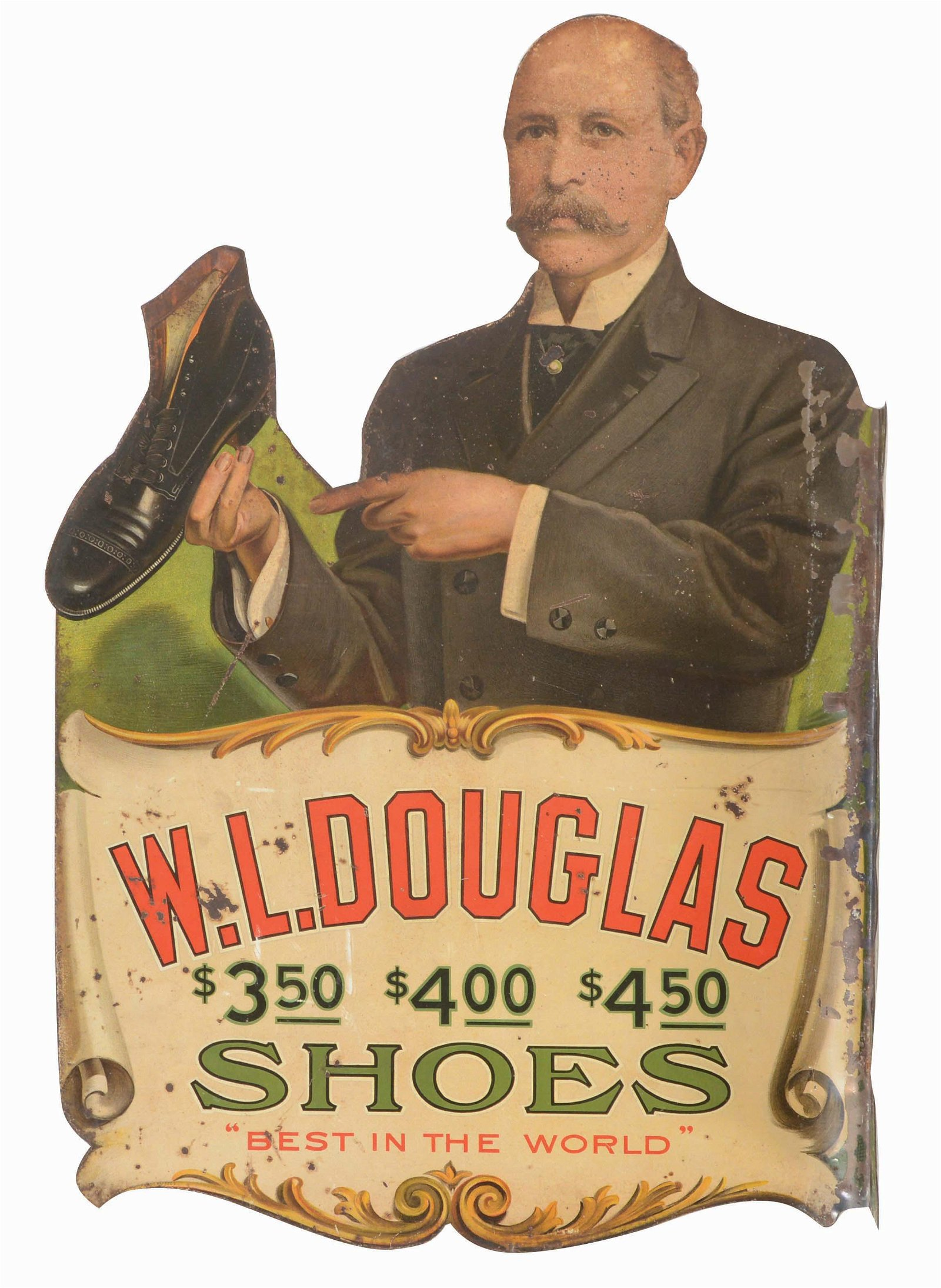 W.L. DOUGLAS SHOES DOUBLE SIDED SIGN.