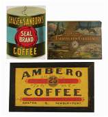 LOT OF 3: COFFEE ADVERTISING SIGNS.