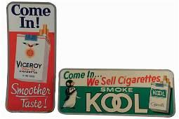 LOT OF 2: VICEROY & KOOL TIN CIGARETTE ADVERTISING