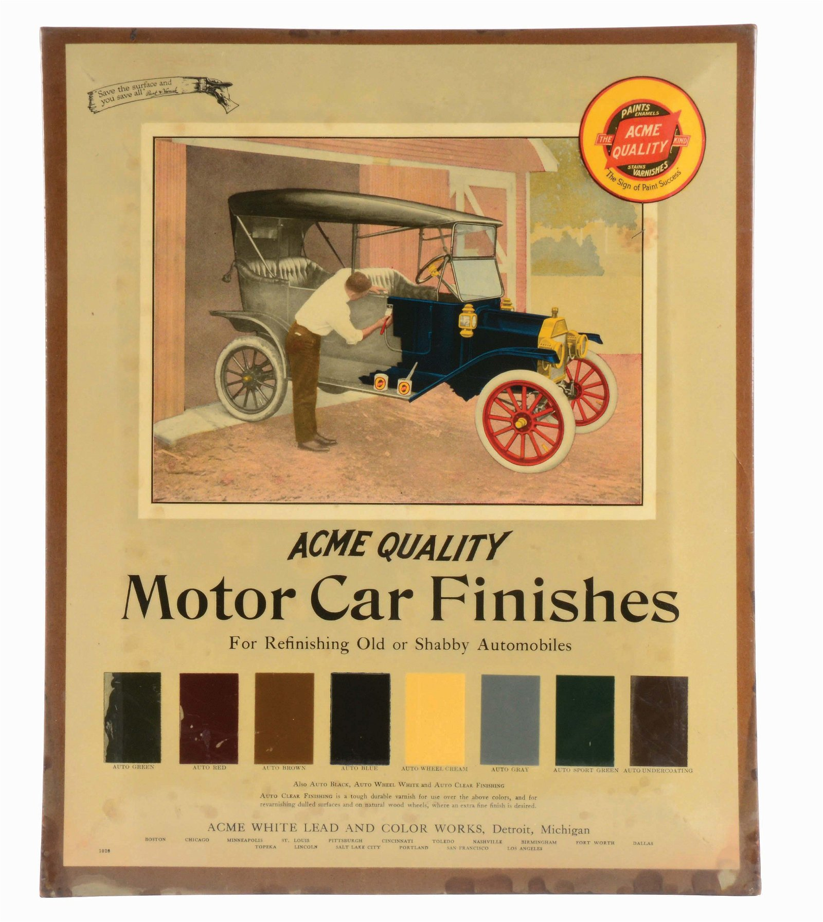 ACME MOTOR CAR FINISHES CELLULOID OVER TIN ADVERTISING