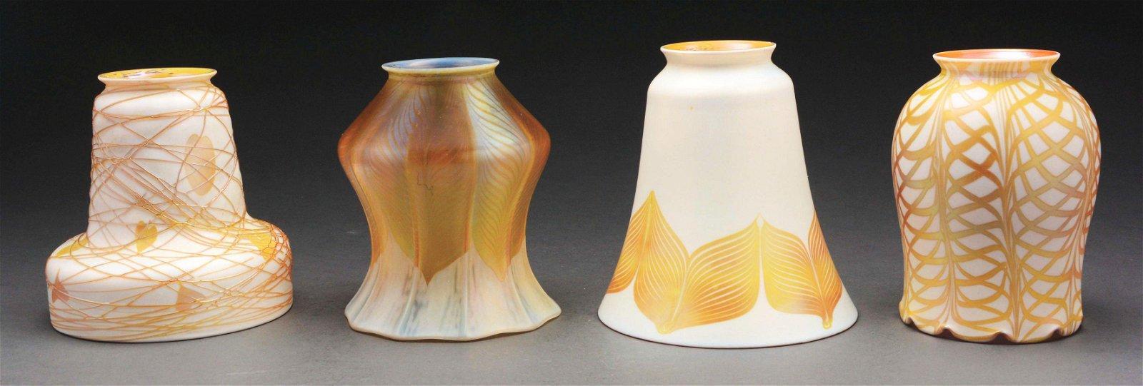 LOT OF 4: QUEZAL ART GLASS SHADES.