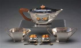 LOT OF 3 STERLING SILVER THREEPIECE TEA SET