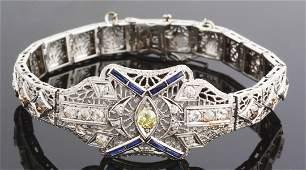 ANTIQUE 14K WHITE GOLD FILIGREE DIAMOND  SAPPHIRE